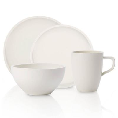 Artesano 4-Piece Casual White Porcelain Dinnerware Set (Service for 1)