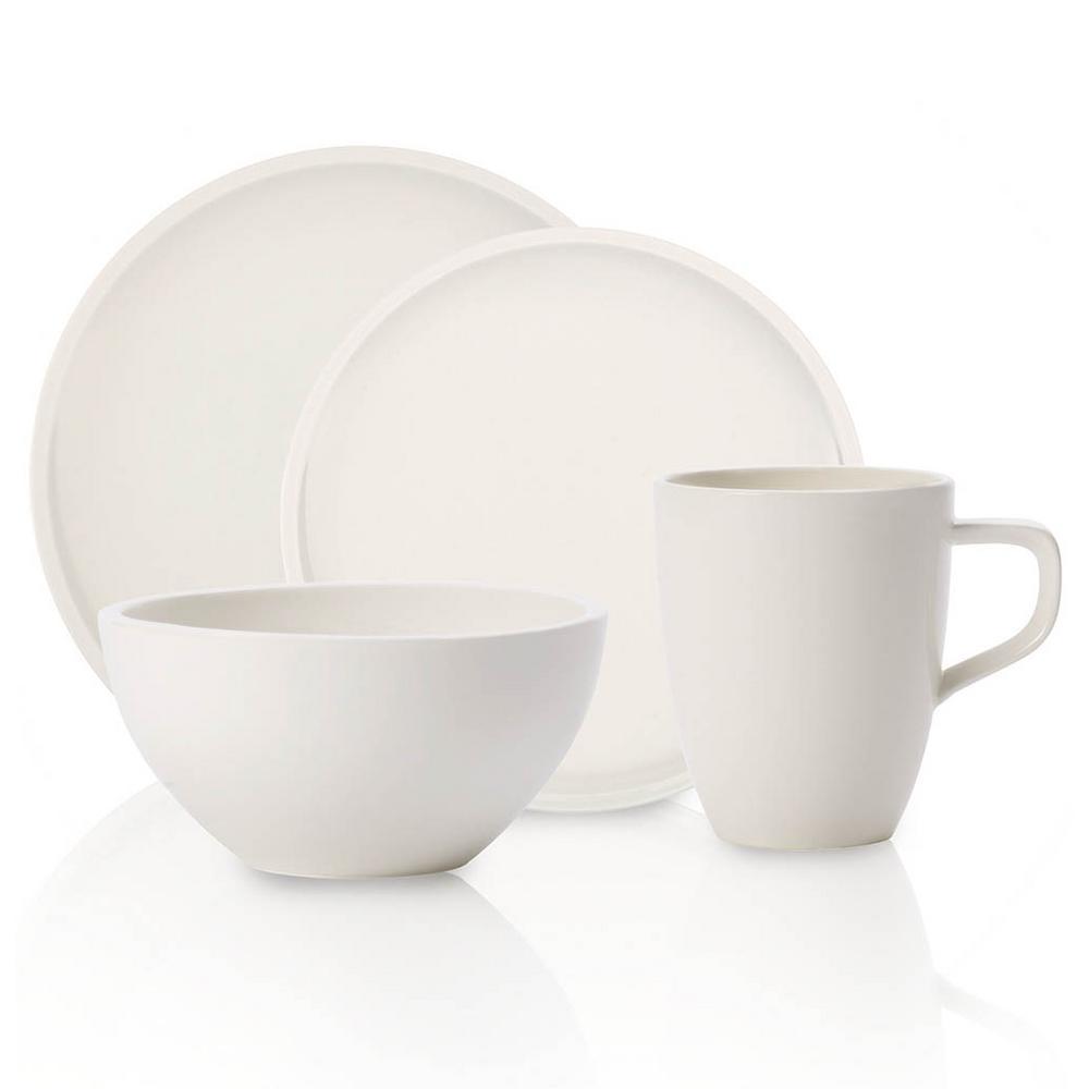 Artesano 4-Piece Casual White Porcelain Dinnerware Set (Service for 1)