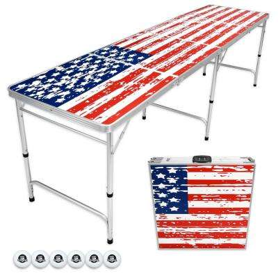 8 ft. Foldable American Flag Beer Pong Party Game Table Lightweight Aluminum Design Indoor Outdoor Portable Drinking