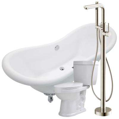 Aegis 68.75 in. Acrylic Clawfoot Non-Whirlpool Bathtub in White with Sens Faucet and Talos 1.6 GPF Toilet