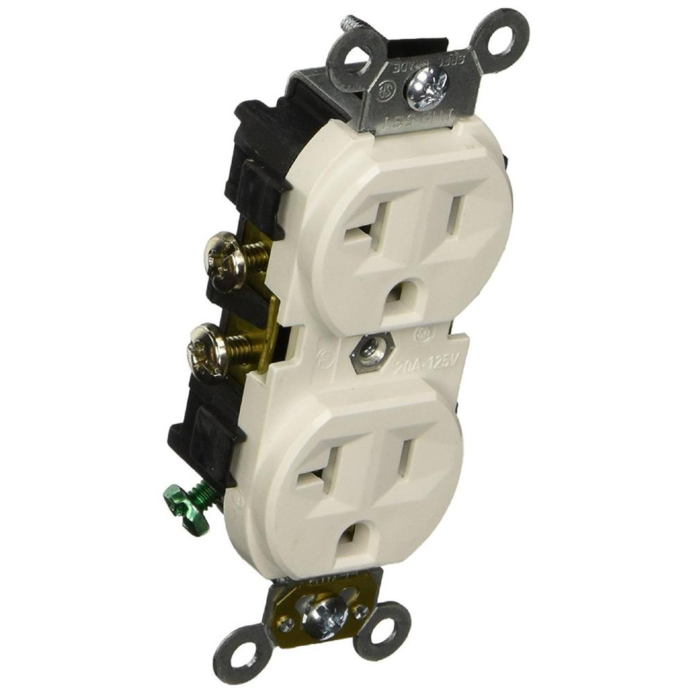 20 Amp 125-Volt Narrow Body Duplex Outlet in White