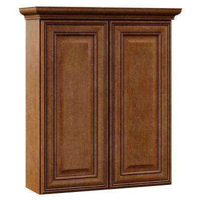 Oxford 24 in. W x 28-1/2 in. H x 7-1/4 in. D Bathroom Storage Wall Cabinet in Toasted Almond