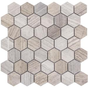 Limestone Gray Honed 11.73 in. x 12.01 in. x 10mm Limestone Mesh-Mounted Mosaic Tile (0.98 sq. ft.)