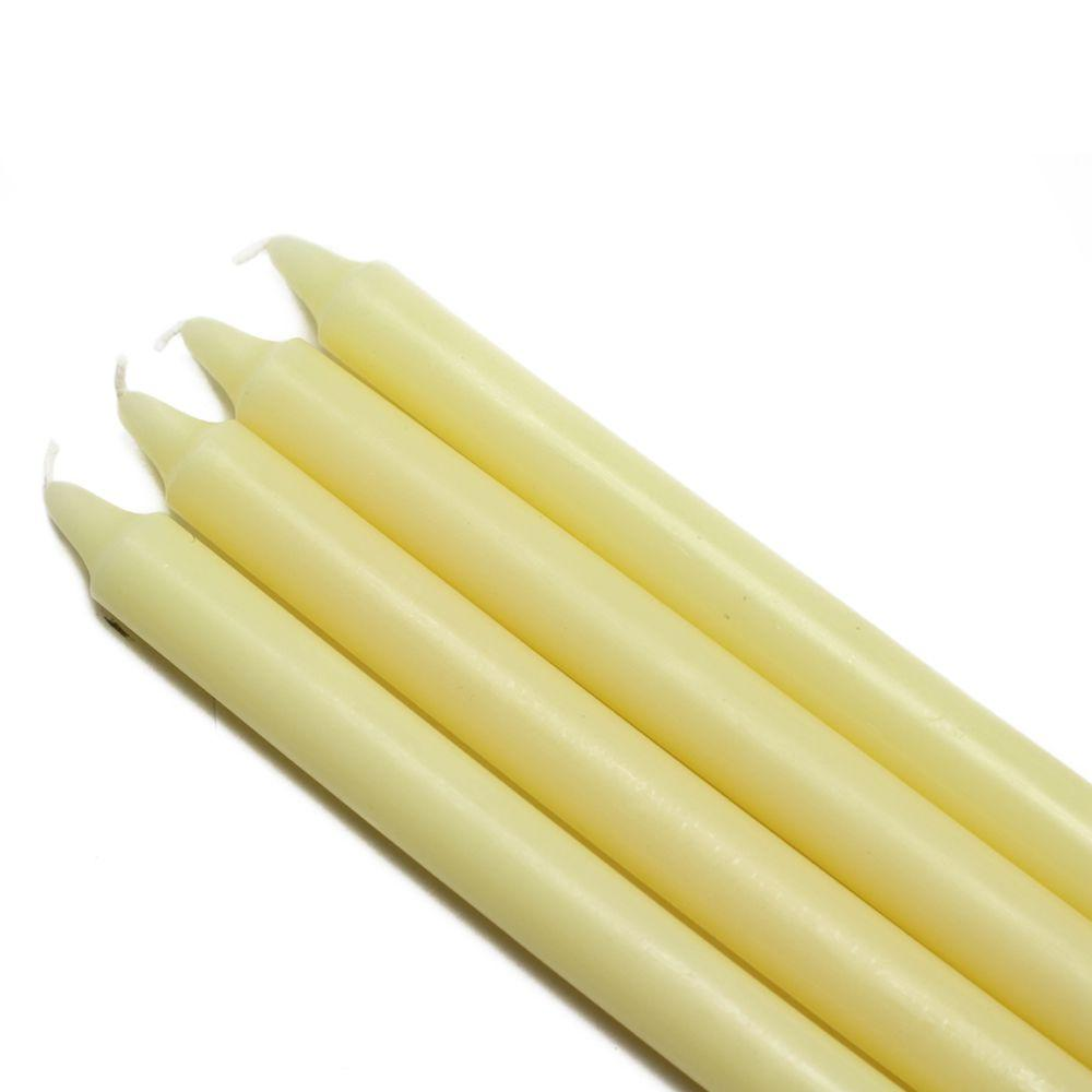 10 in. Ivory Straight Taper Candles (12-Set), Beige / Ivory