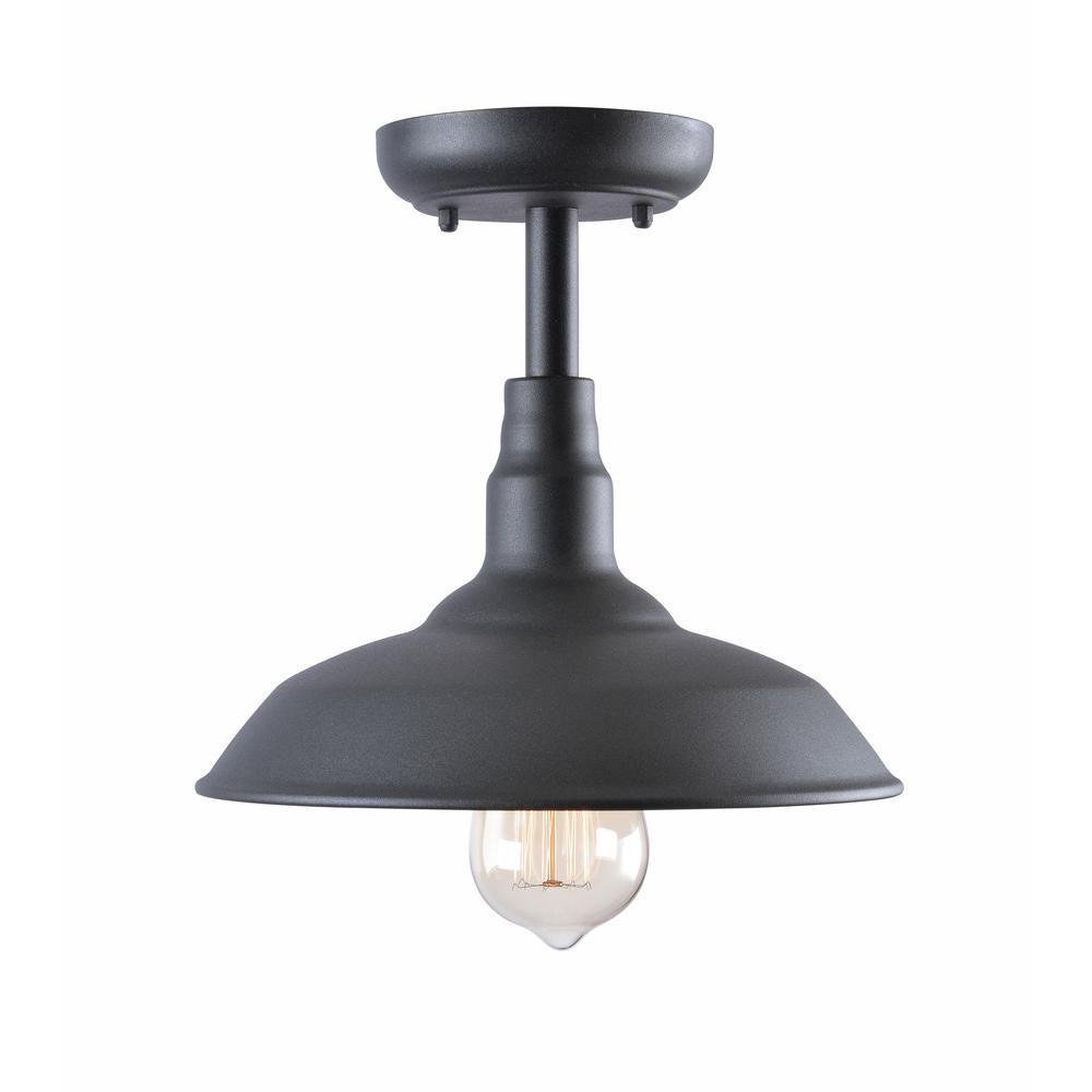 KENROYHOME Kenroy Home Dale Black 1-Light Outdoor Semi Flush Mount Light