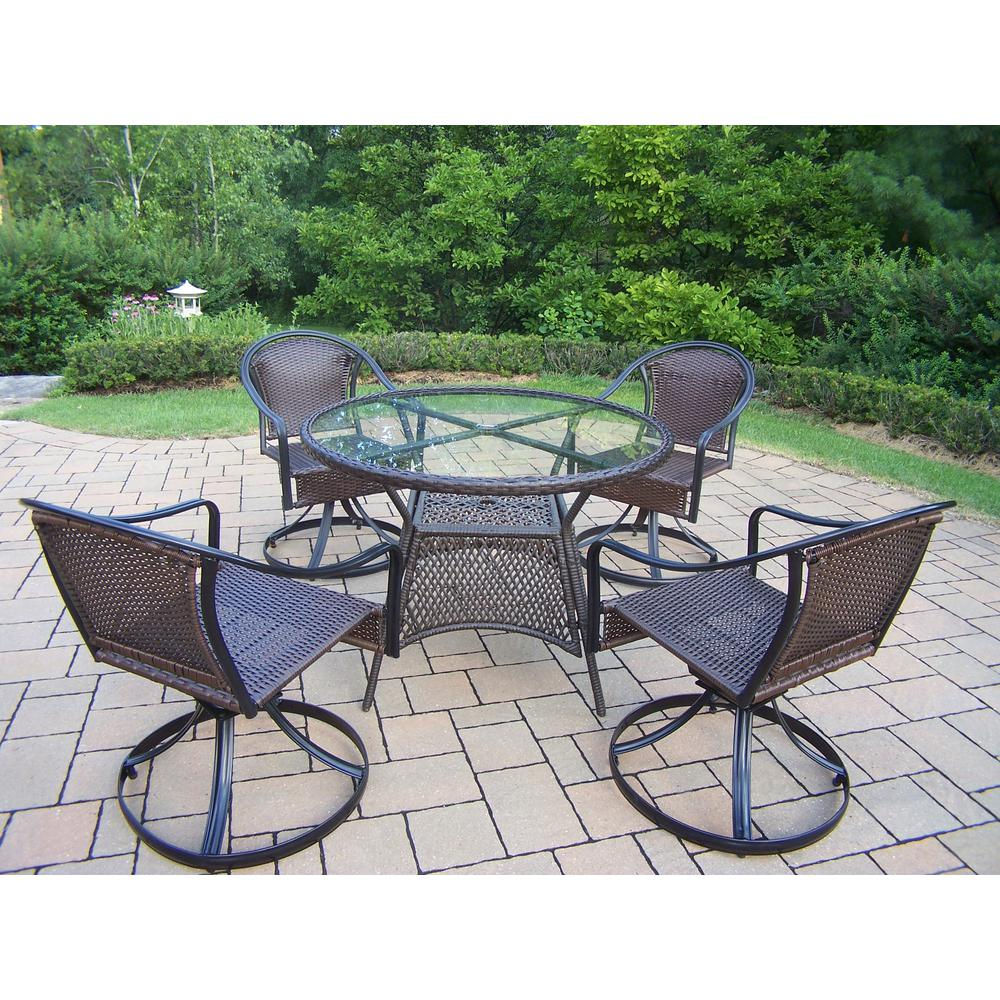 Tuscany Black 7 Piece Wicker Outdoor Dining Set Hd90045t 90079s4 5 Bk The Home Depot