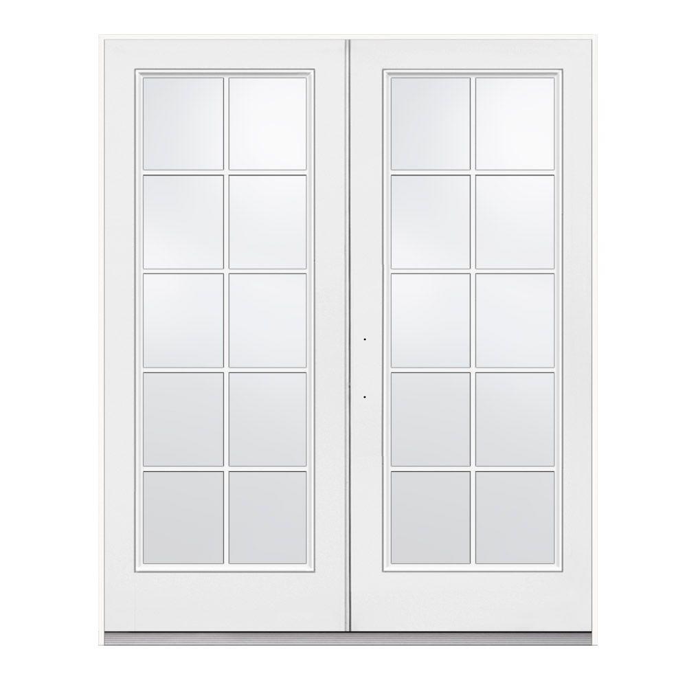jeld wen 72 in x 80 in primed white right hand inswing low e tempered 10 lite fiberglass. Black Bedroom Furniture Sets. Home Design Ideas