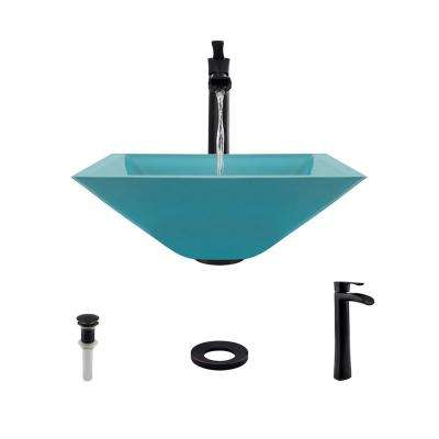 Glass Vessel Sink in Turquoise with 731 Faucet and Pop-Up Drain in Antique Bronze