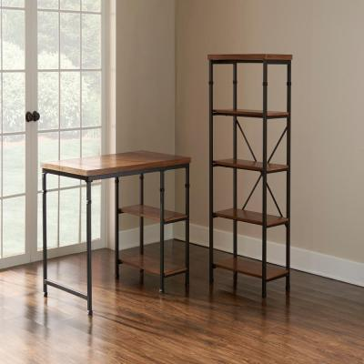 54 in. Black/Ash Veneer Metal 4-shelf Etagere Bookcase with Open Back
