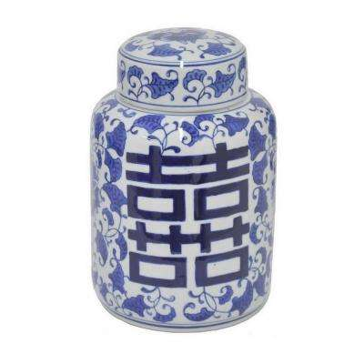 9 in. Blue and White Ceramic Jar