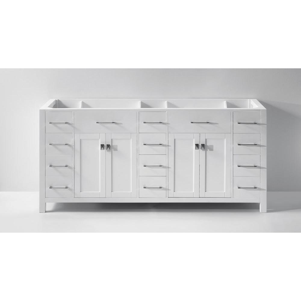Virtu USA Caroline Parkway 72 in. W Bath Vanity Cabinet Only in White
