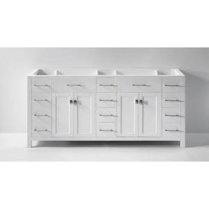 Virtu USA Caroline Parkway 72 inch W x 22 inch D Vanity Cabinet Only in White by Virtu USA