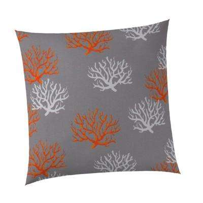Reef Square Outdoor Throw Pillow Grey