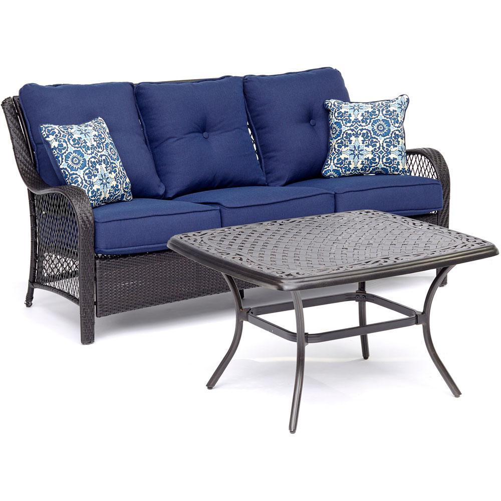 Orleans 2-Piece Metal Patio Conversation Set with Navy Blue Cushions