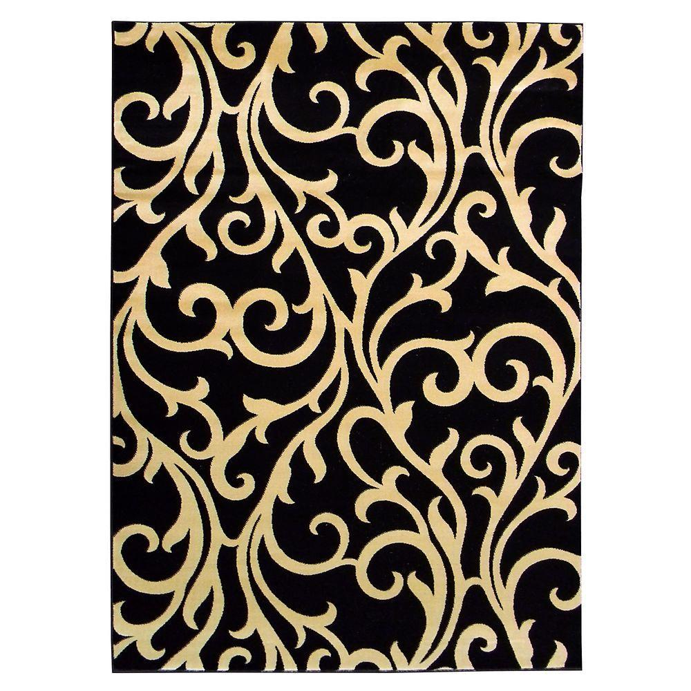 DonnieAnn Tiffany Vine Swirl Design Black 5 ft. x 7 ft. Indoor Area Rug