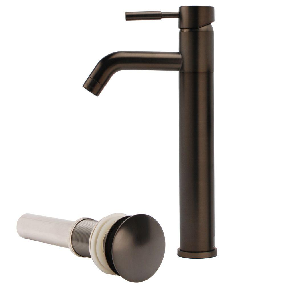 Fontaine New European 1-Hole 1-Handle Bathroom Vessel Faucet with Drain Assembly in Brushed Bronze