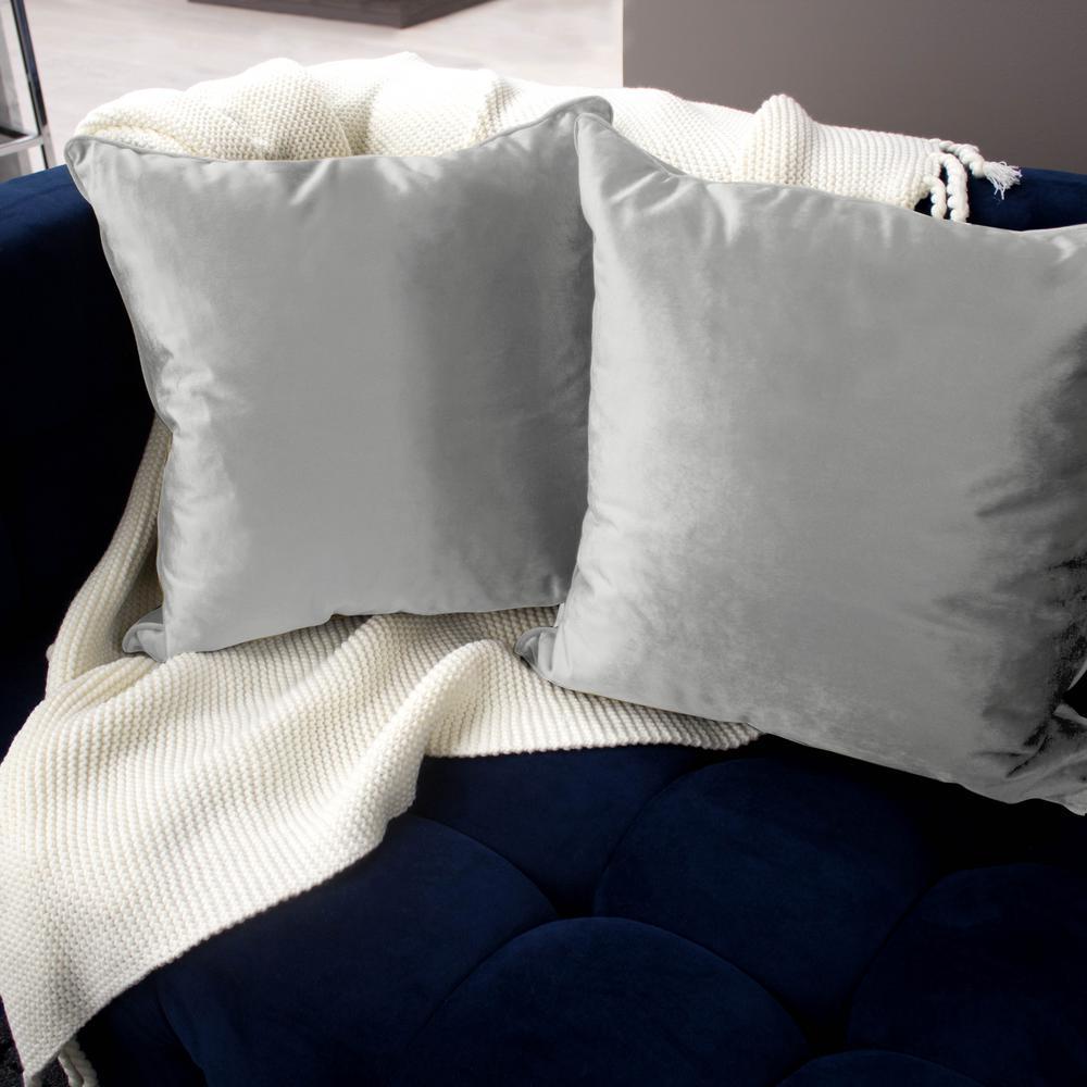 Lucas Velvet 2-Piece Decorative Pillow Set in Light Gray