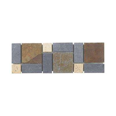 Charcoal 4 in. x 12 in. x 8 mm Slate Accent and Trim Wall Tile