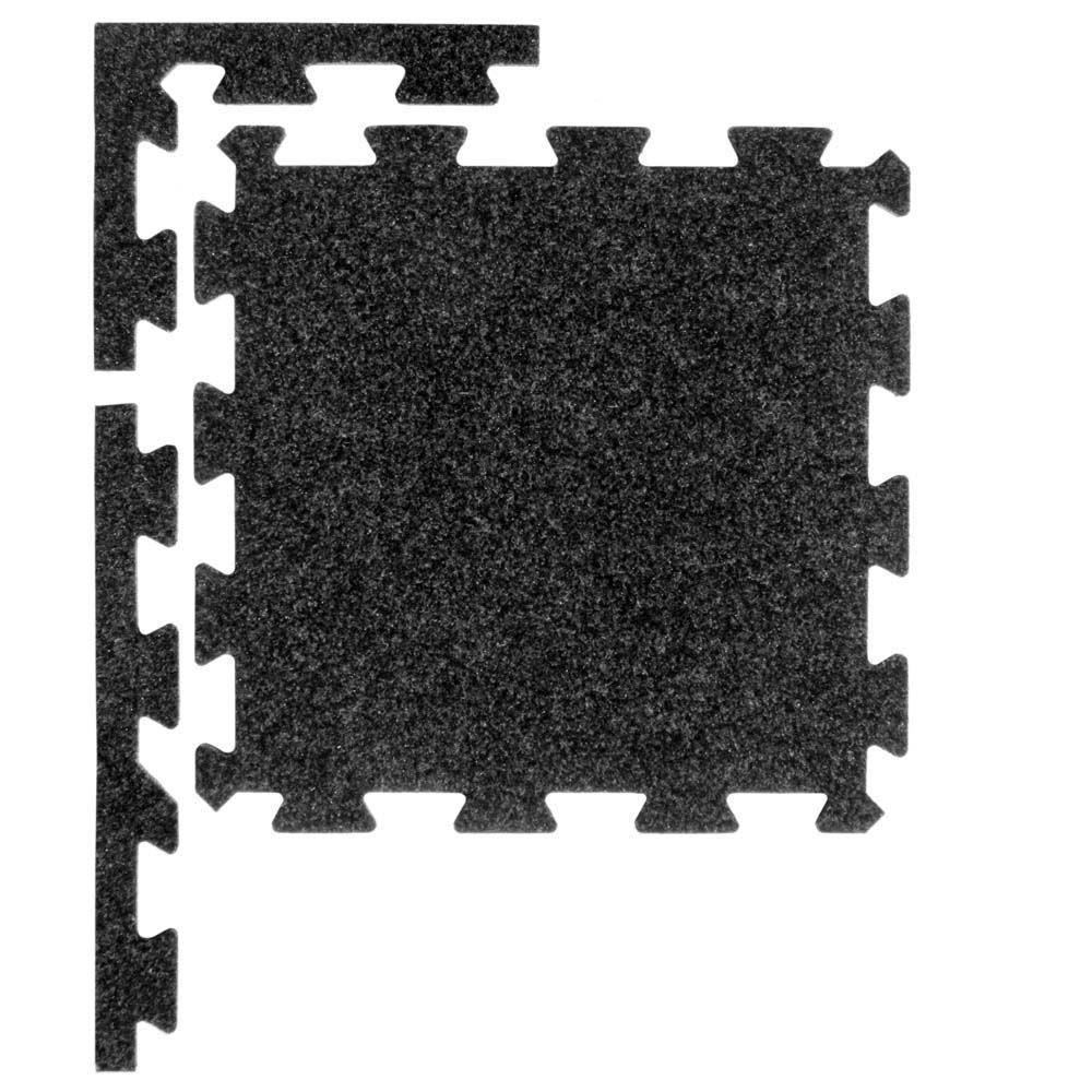 Ebony 37 in. x 54 in. Plush Tiles