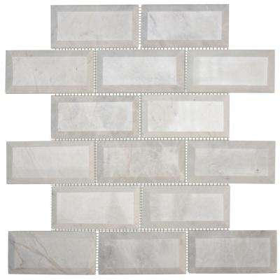 Carrara Beveled 12 in. x 12 in. x 10 mm Marble Mosaic Wall Tile