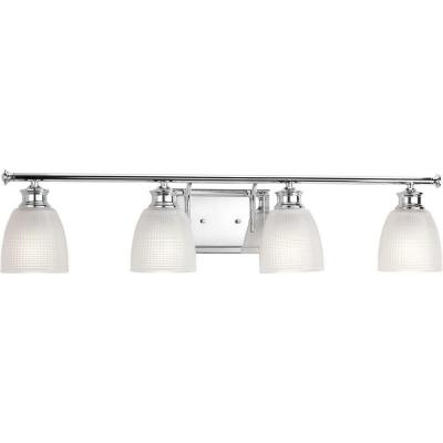 Lucky Collection 4-Light Polished Chrome Vanity Light with Double Prismatic Frosted Glass Shades