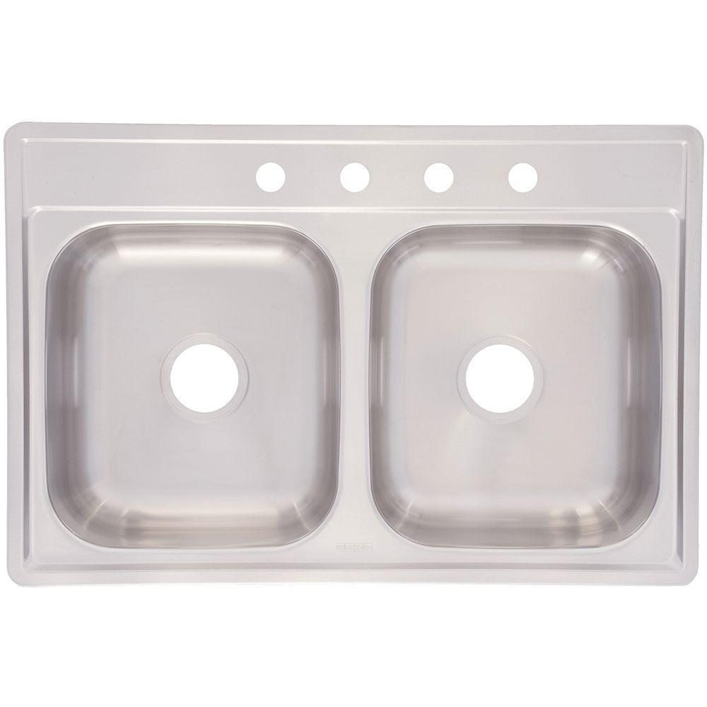 franke drop in stainless steel 33 in 4 hole double bowl kitchen sink fdg804nb   the home depot franke drop in stainless steel 33 in 4 hole double bowl kitchen      rh   homedepot com