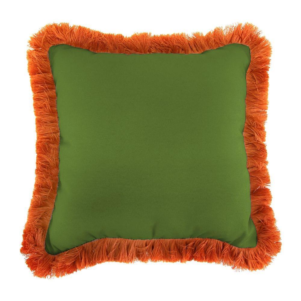 Sunbrella Spectrum Cilantro Square Outdoor Throw Pillow with Tuscan Fringe
