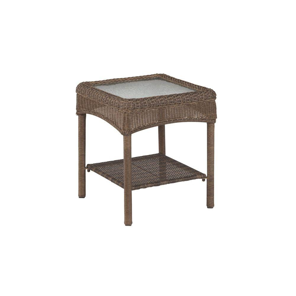 Martha Stewart Living Charlottetown Brown All Weather Wicker Patio Accent  Table 65 509556/7   The Home Depot