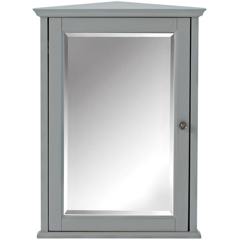 Home Decorators Collection Hamilton 27 in. H x 20 in. W Corner Wall Cabinet in Grey