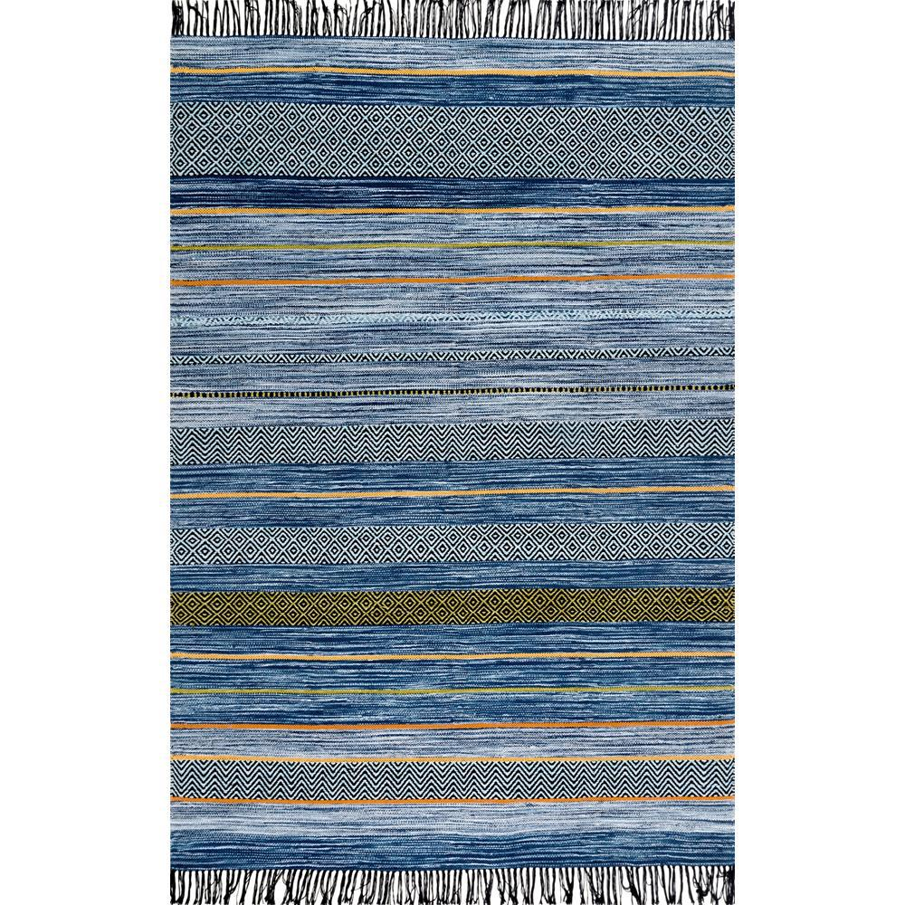 Stripes Tel Ninonne Blue 7 Ft 6 In X 9 Area Rug