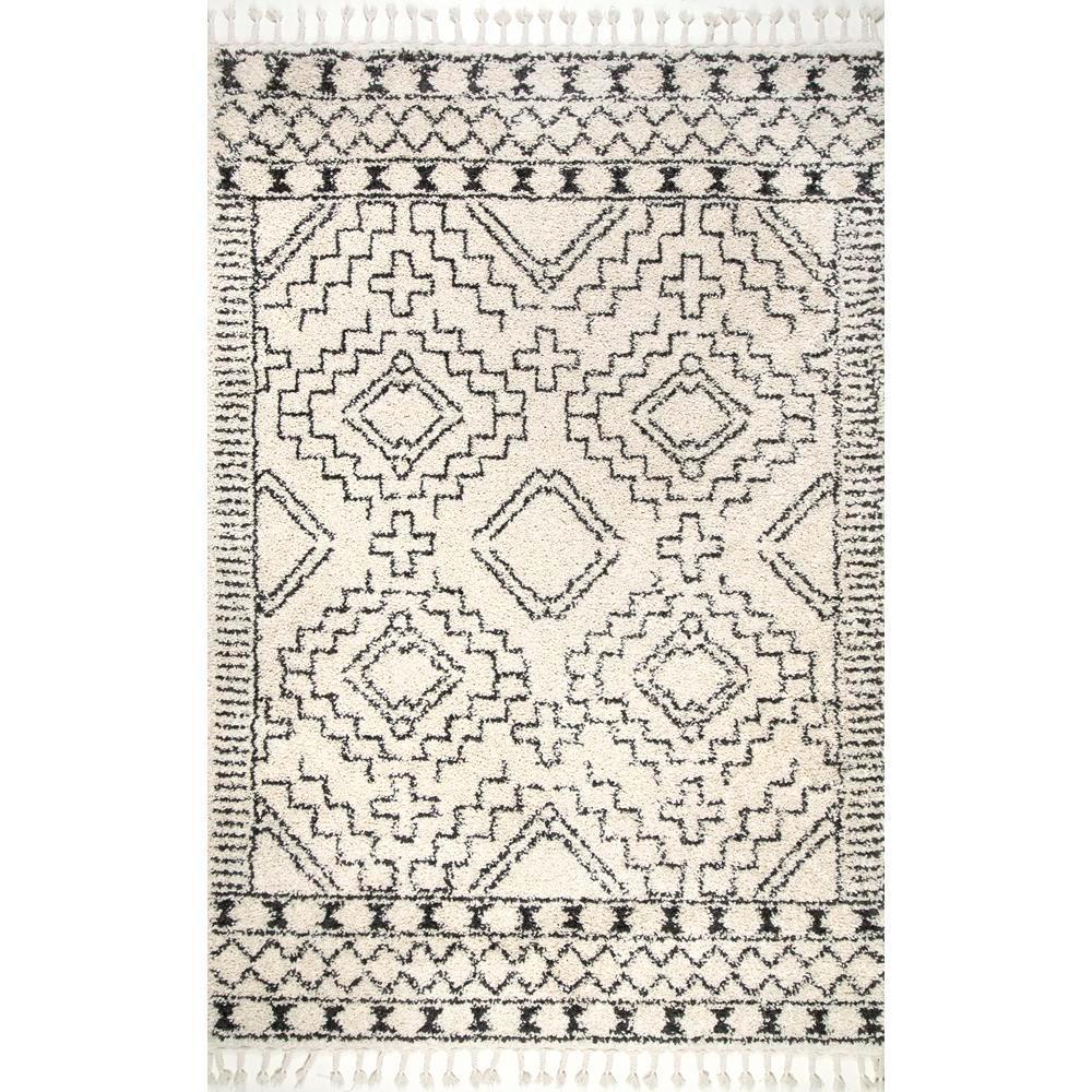 NuLOOM Vasiliki Moroccan Tribal Tassel Off-White 5 Ft. X 8