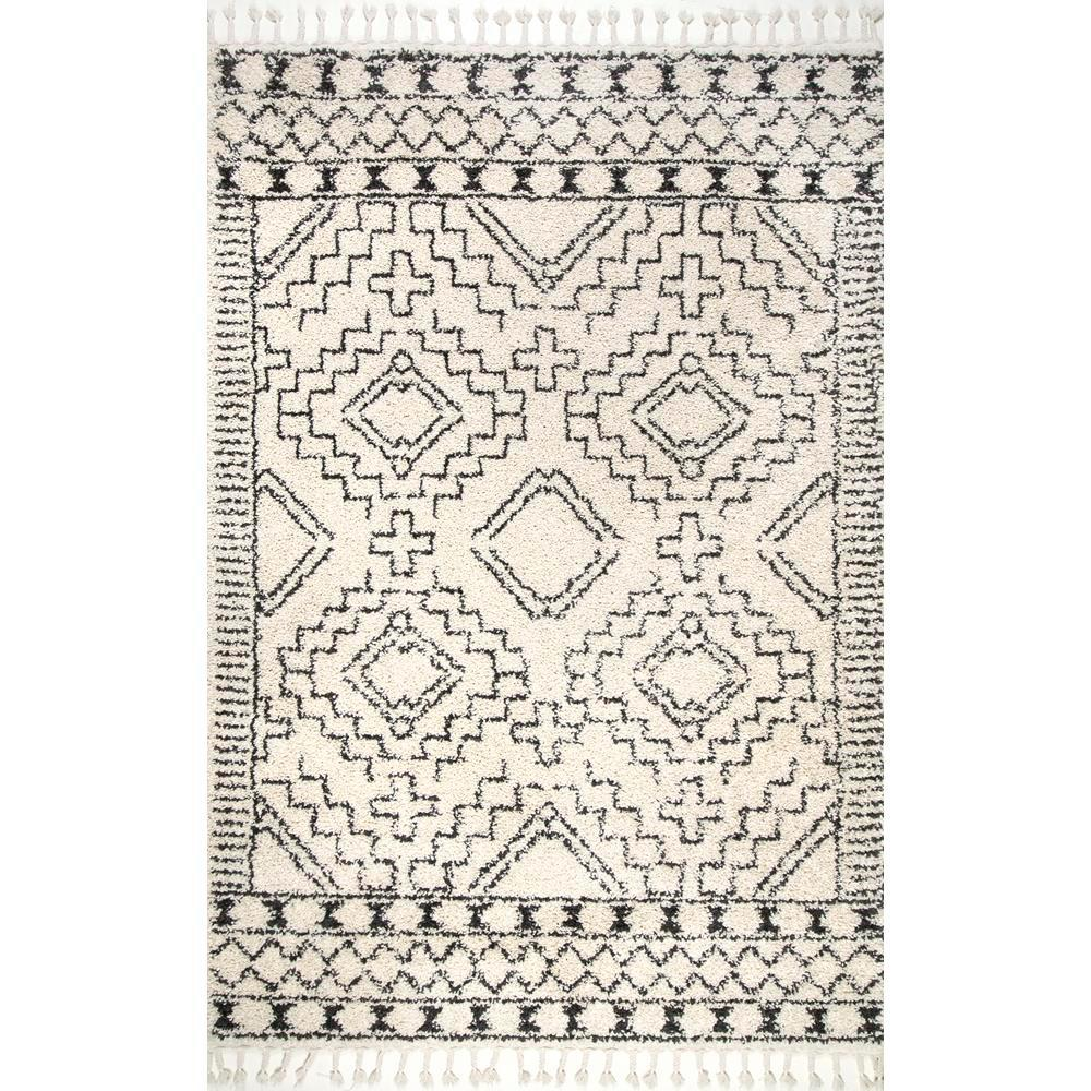 Nuloom vasiliki moroccan tribal tassel off white 9 ft x 12 ft area rug gcdi02a 92012 the home depot