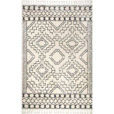 Vasiliki Moroccan Tribal Tassel Off-White 9 ft. x 12 ft. Area Rug