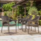 Mirage Stacking Mix Mocha Wicker Outdoor Dining Chairs (4-Pack)