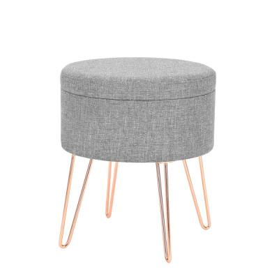 Bon Hattie Gray Small Round Storage Stool