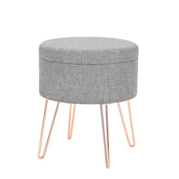 Brilliant Poly And Bark Hattie Gray Small Round Storage Stool Hd 362 Gmtry Best Dining Table And Chair Ideas Images Gmtryco