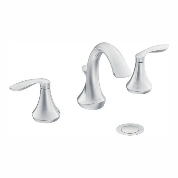 Eva 8 in. Widespread 2-Handle High-Arc Bathroom Faucet Trim Kit in Chrome (Valve Not Included)
