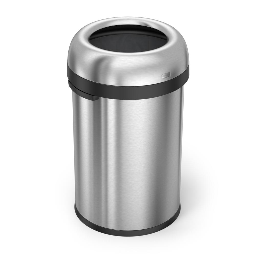 115-Liter Heavy-Gauge Brushed Stainless Steel Bullet Open Top Trash Can