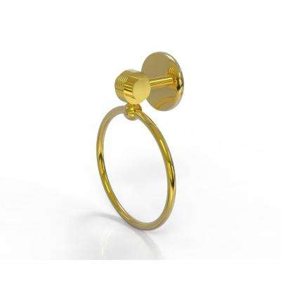 Satellite Orbit Two Collection Towel Ring with Groovy Accent in Polished Brass
