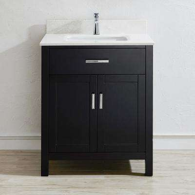 Kalize II 30 in. W x 22 in. D Vanity in Espresso with Engineered Vanity Top in White with White Basin and Mirror