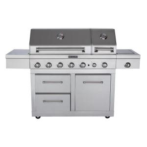 KitchenAid 6-Burner Dual Chamber Propane Gas Grill in Stainless Steel with Side Burner and Grill Cover by KitchenAid