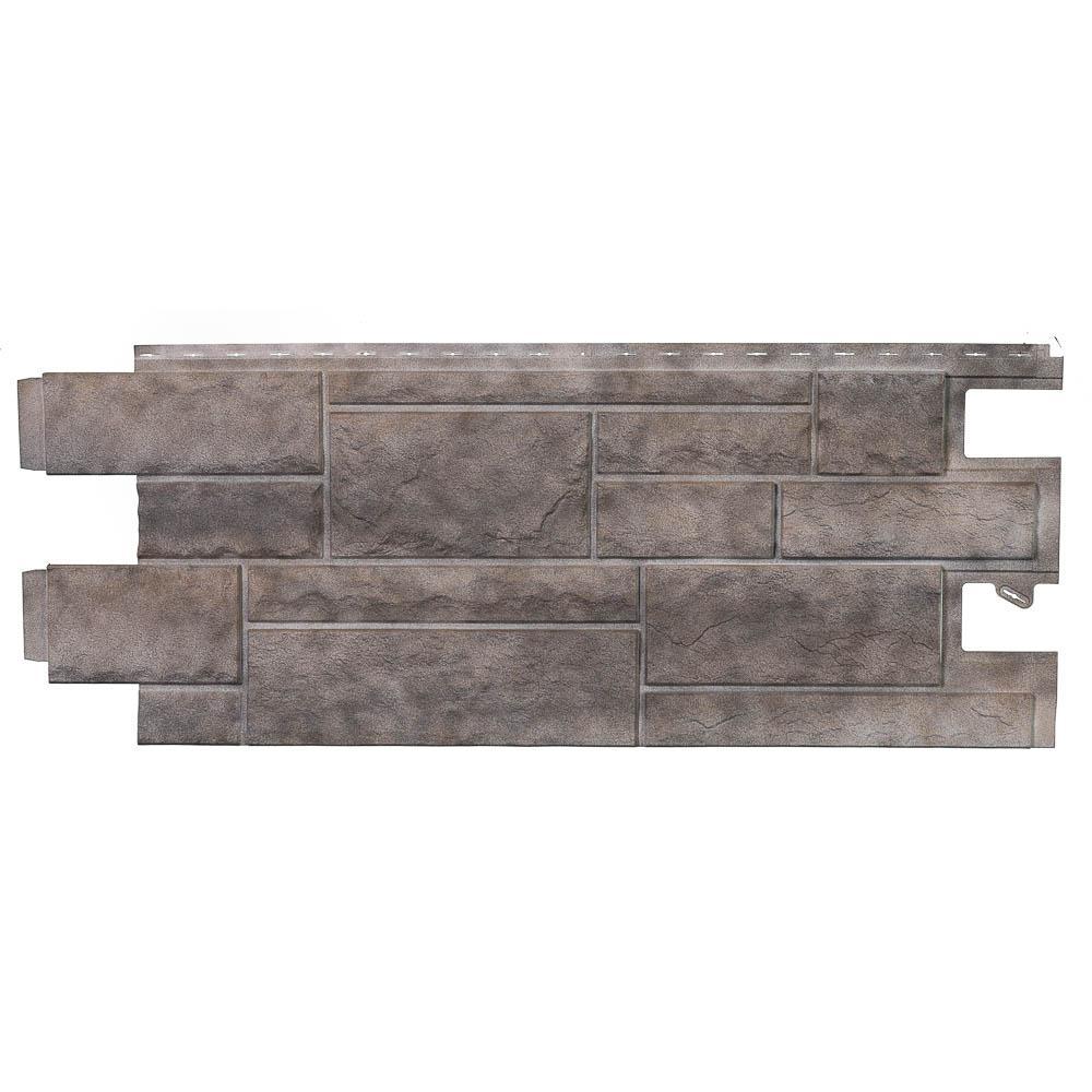 Stone PHC - 48 in. x 18.5 in. Premium Hand-Cut Stone in Shadow Gray (46 sq. ft. per Box) plastic Siding Panel