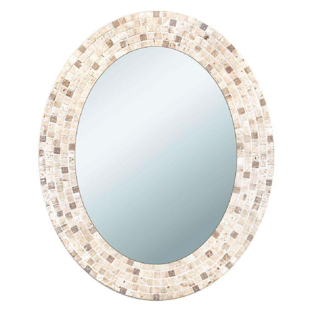 Deco Mirror 25 In X 31 Travertine Mosaic Oval