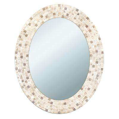 25 in. x 31 in. Travertine Mosaic Oval Mirror