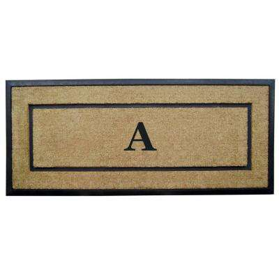 DirtBuster Single Picture Frame Black 24 in. x 57 in. Coir with Rubber Border Monogrammed A Door Mat