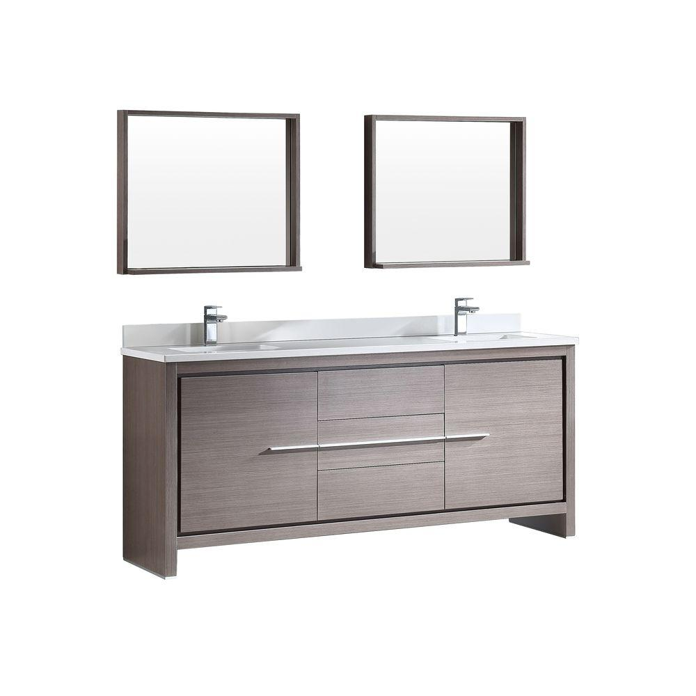 Fresca Allier 72 In Double Vanity In Gray Oak With Glass Stone Vanity Top In White And Mirror Fvn8172go The Home Depot