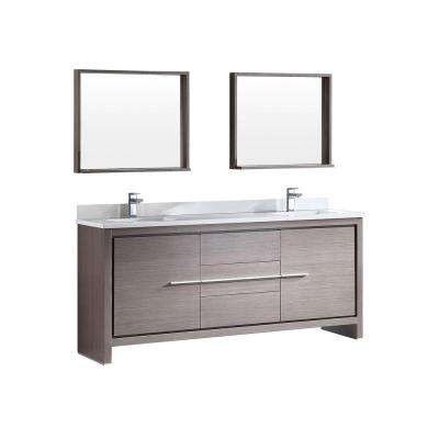Allier 72 in. Double Vanity in Gray Oak with Glass Stone Vanity Top in White and Mirror
