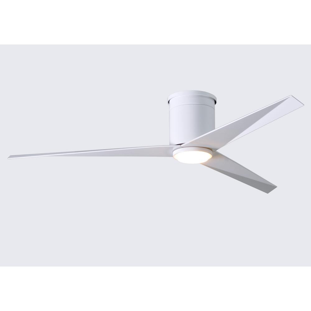 Atlas Eliza 56 in. LED Indoor/Outdoor Damp Gloss White Ceiling Fan with Light with Remote Control, Wall Control