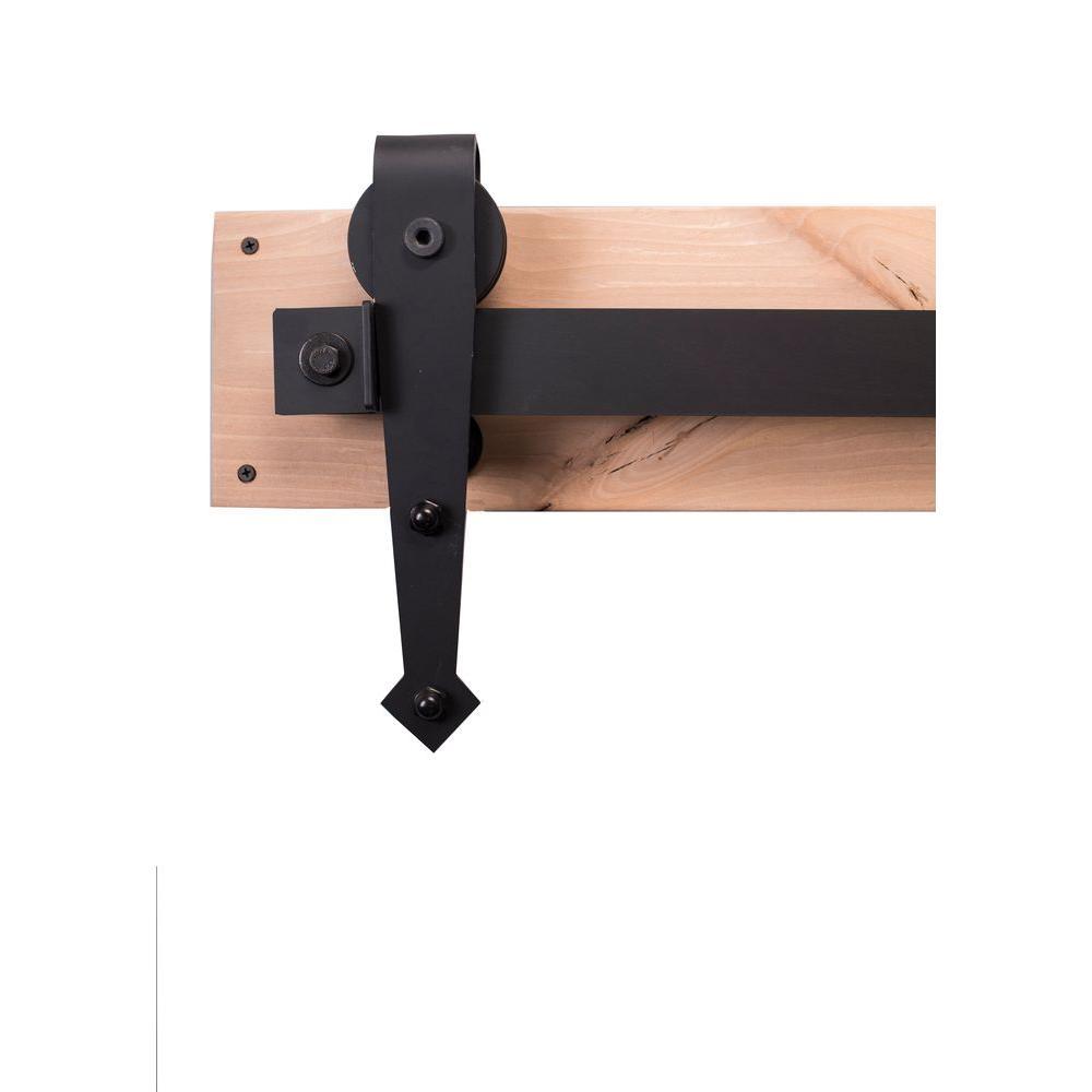 84 in. Flat Black Sliding Barn Door Hardware Kit with Arr...
