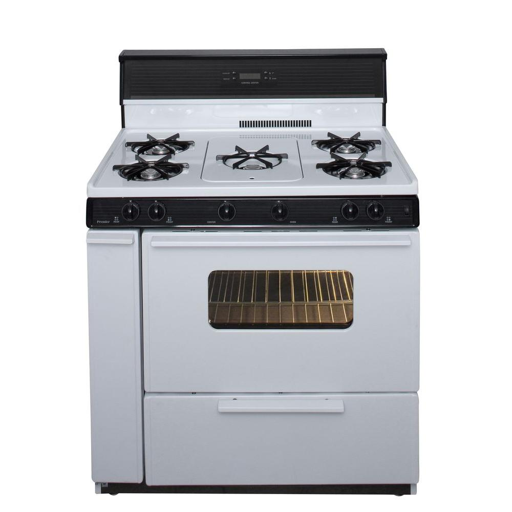 Premier 36 In 3 91 Cu Ft Freestanding Gas Range With 5th Burner And Griddle Package White